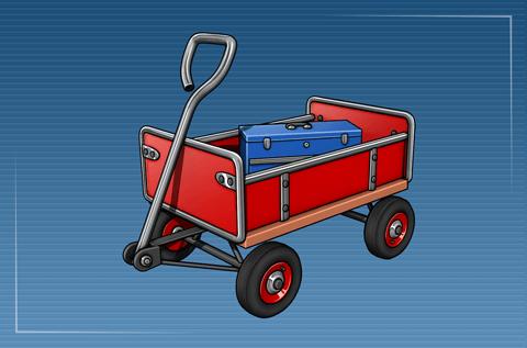 Werkzeugkasten auf Handwagen