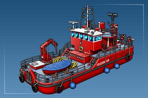 Löschboot mit Löscheinrichtung