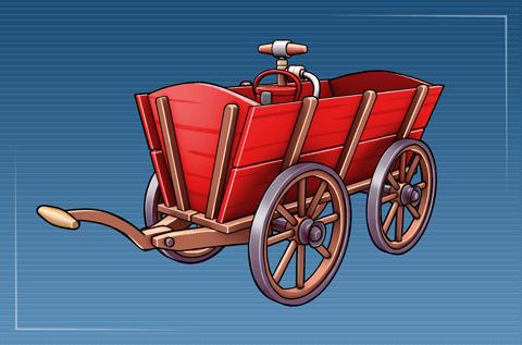 Handwagen mit Wasserkübel