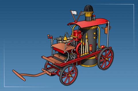 Feuerwehrkutsche mit Dampfspritze